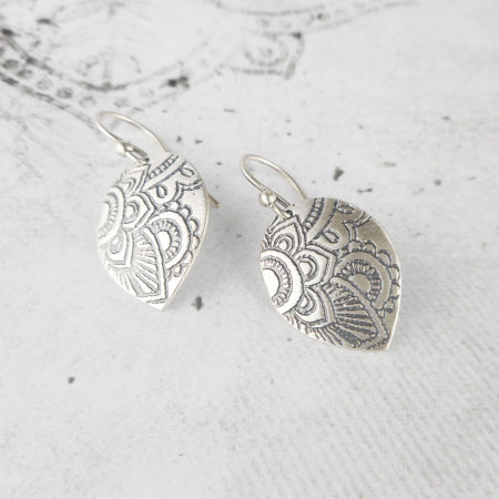 Mehndi Petal Silver Earrings