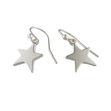 Star drop silver earrings