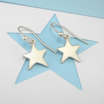 Star drop silver earrings