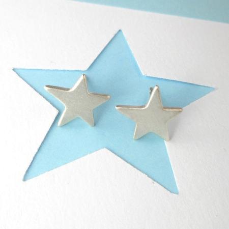 brushed star stud earrings