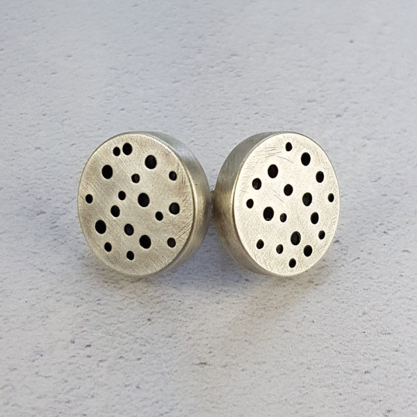 moonscape silver studs with brushed dark patina