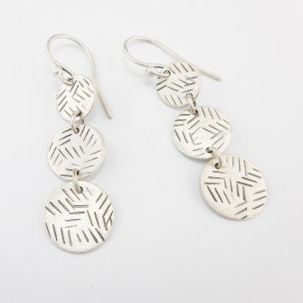 Disc Trio Silver Earrings, track pattern