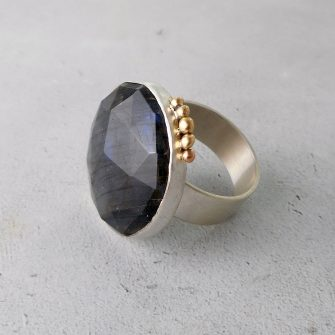 labradorite statement ring in silver with gold accents
