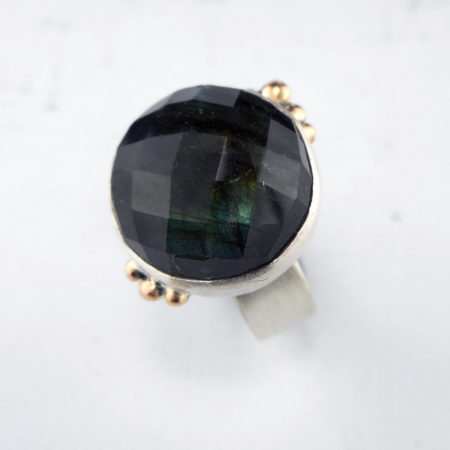 Labradorite ring in silver with gold accent