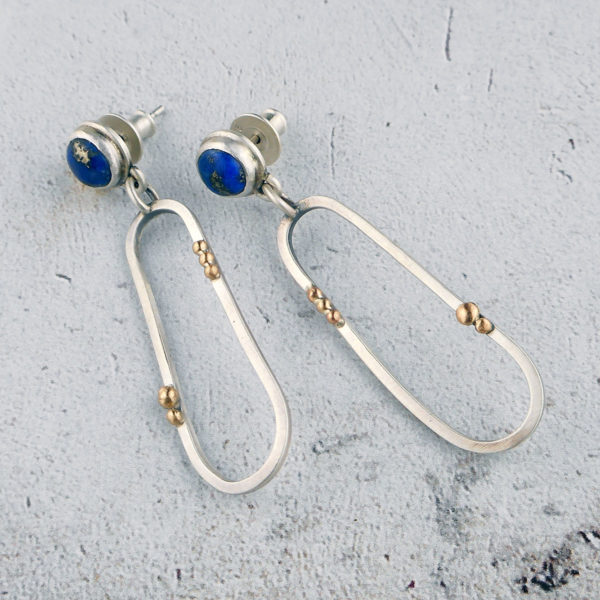 lapis lazuli and 9 ct gold earrings in silver