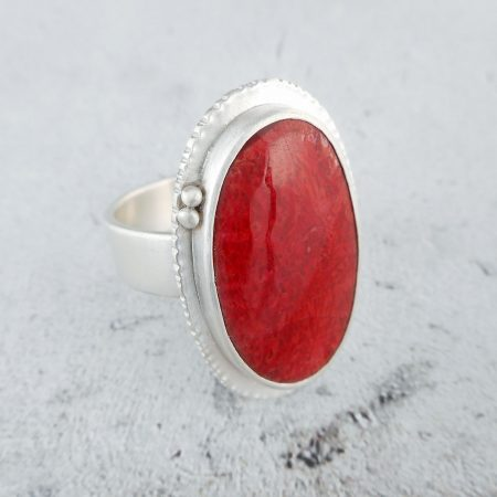one off red coral and silver ring