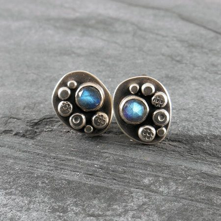 Labradorite Granule Freeform Stud Earrings