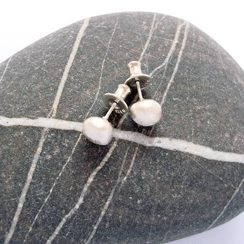 Pebble Silver Stud Earrings