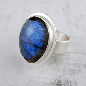 Rose cut Labradorite Silver Ring