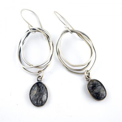 Rutilated Quartz & Silver Nest Earrings