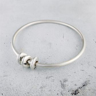 Silver Pebble Bangle Bracelet