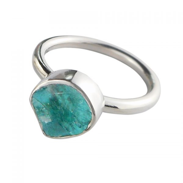 Turquoise Apatite & Silver Ring - UK size P 1/2