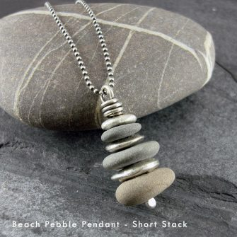 Beach Pebble & Silver Stack Pendant