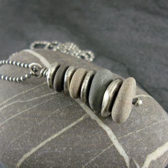 Beach Pebble & Silver Stack Pendant, Long