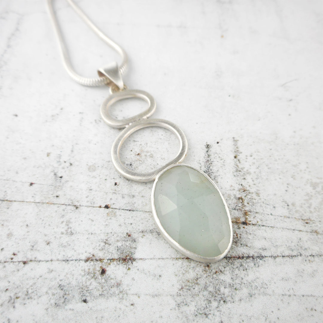 aquamarine rock pool pendant in silver