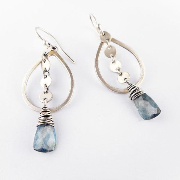 aquamarine sequin drop earrings