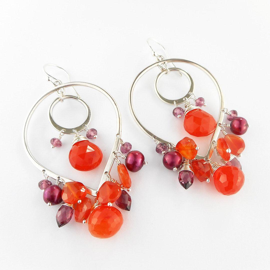 july earring design; carnelian, garnet, pearl