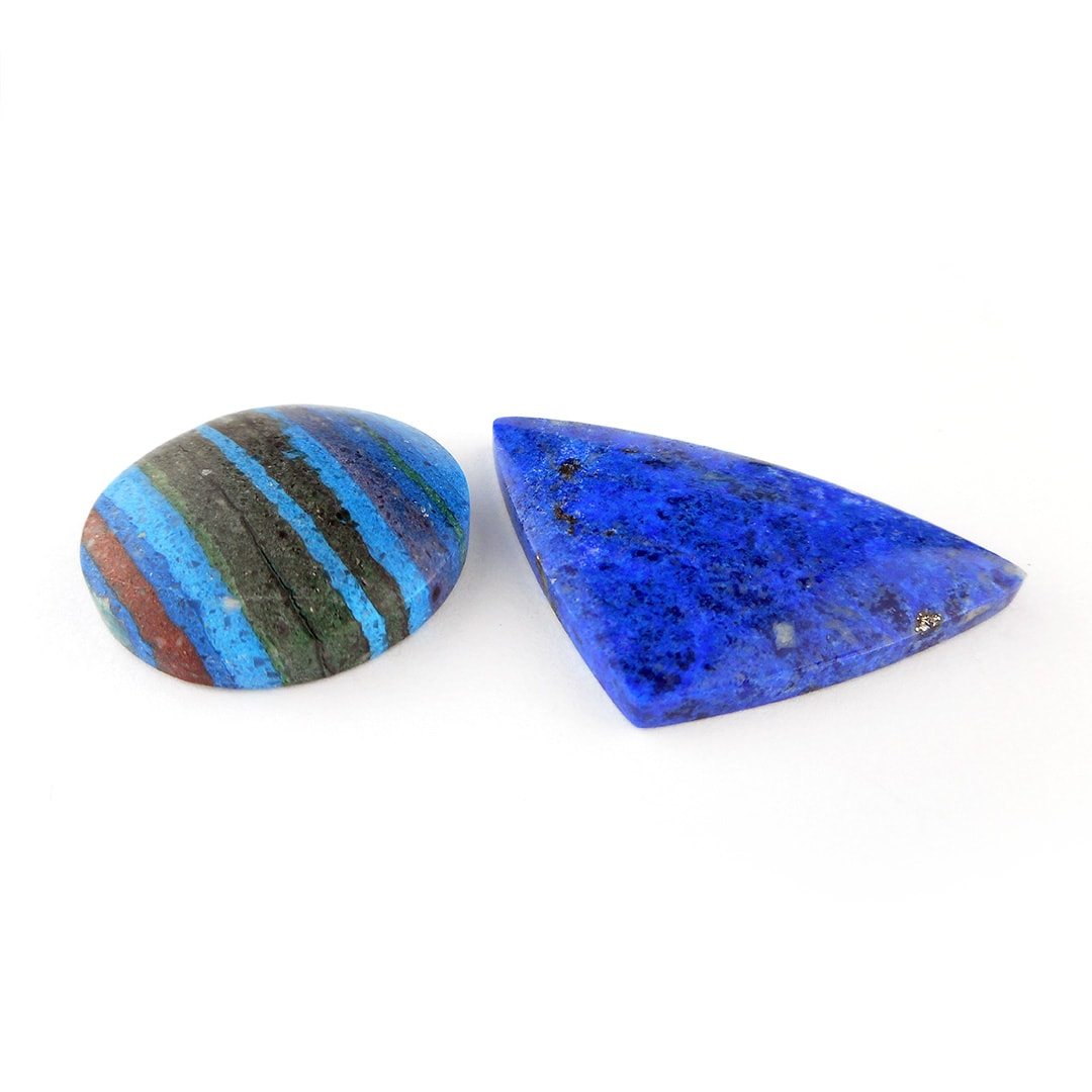 new stones; lapis lazuli and rainbow calsilica