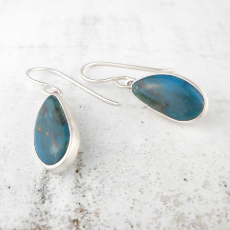 handmade blue opal earrings in sterling silver