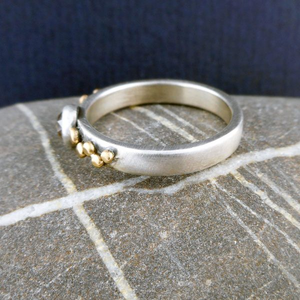 Brown diamond and silver granule Cobblestone ring with 9 ct gold detail