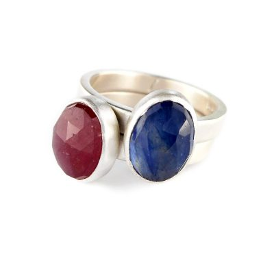ruby and sapphire stacking ring commission