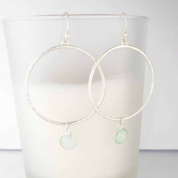 Aqua Chalcedony brushed silver Hoop Earrings