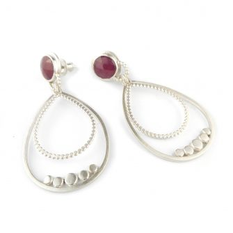 Ruby and silver granule drop earrings