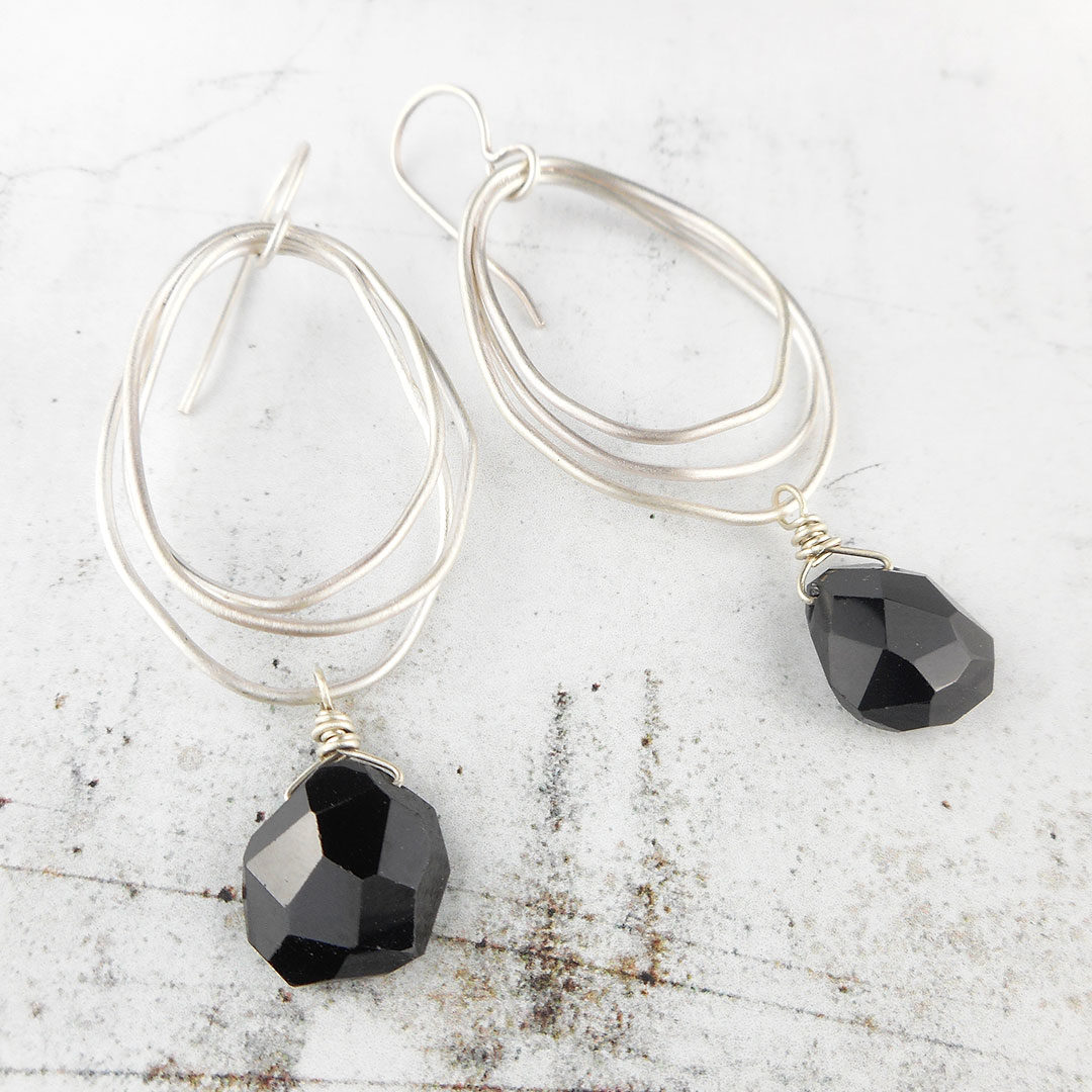 black spinel and silver nest earrings