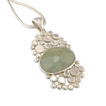 Aquamarine multi pebble pendant in brushed silver