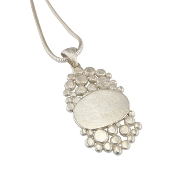 Back of Aquamarine multi pebble pendant in brushed silver