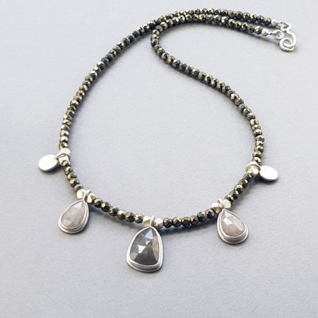 Grey sapphire, pyrite and brushed sterling silver necklace