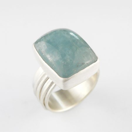 aquamarine ring in silver with wire wrapped band