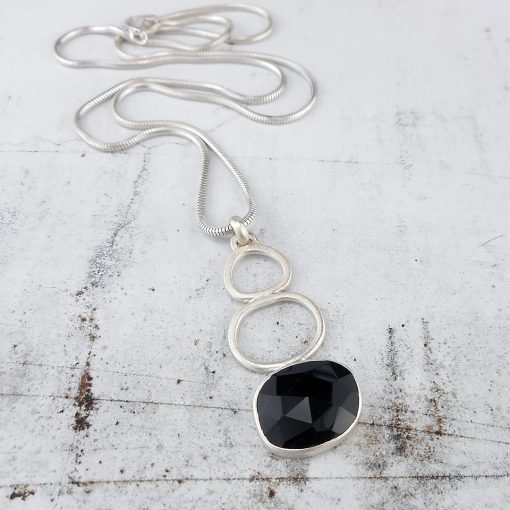 black onyx and brushed silver Rock Pool pendant