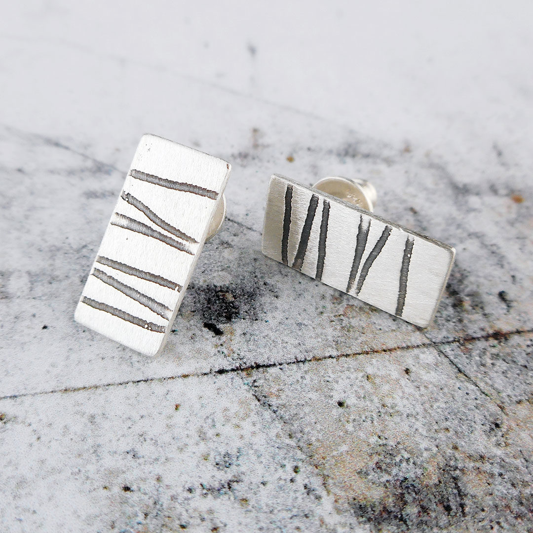 stripey silver stud earrings