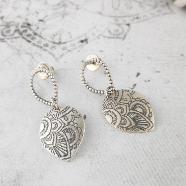 Mehndi Petal Silver Stud Earrings