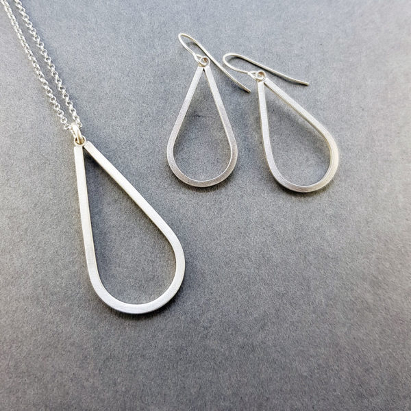 Simplicity drop pendant and earrings in brushed silver