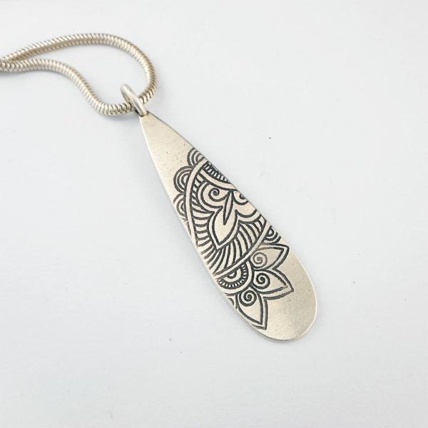 Slender silver Mehndi pendant