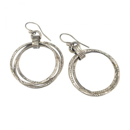 graffiti triple hoop silver earrings