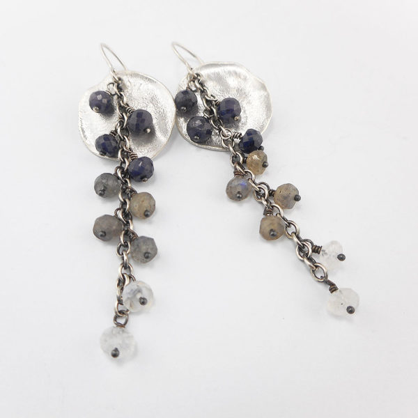 sapphire, labradorite and moonstone on heat textured disc earrings