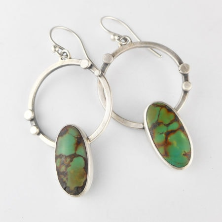 Green turquoise and silver hoop earrings
