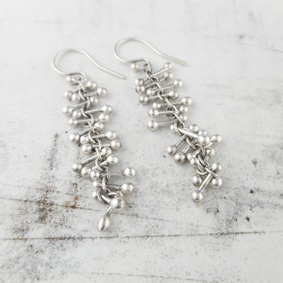 barbells silver earrings, long and dangly