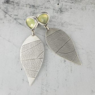 Prehnite studs with textured silver leaf drops