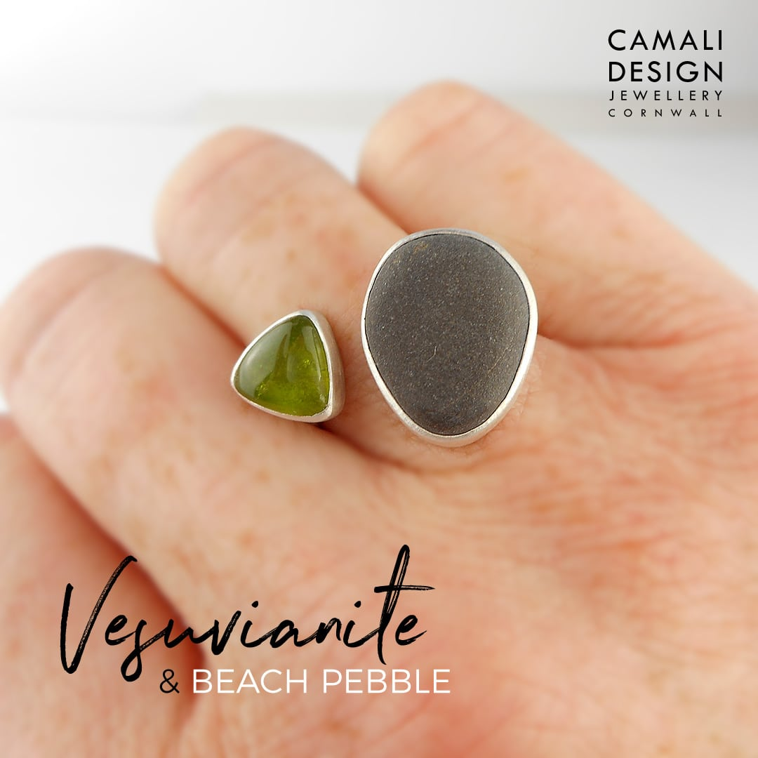 Beach pebble and Vesuvianite ring