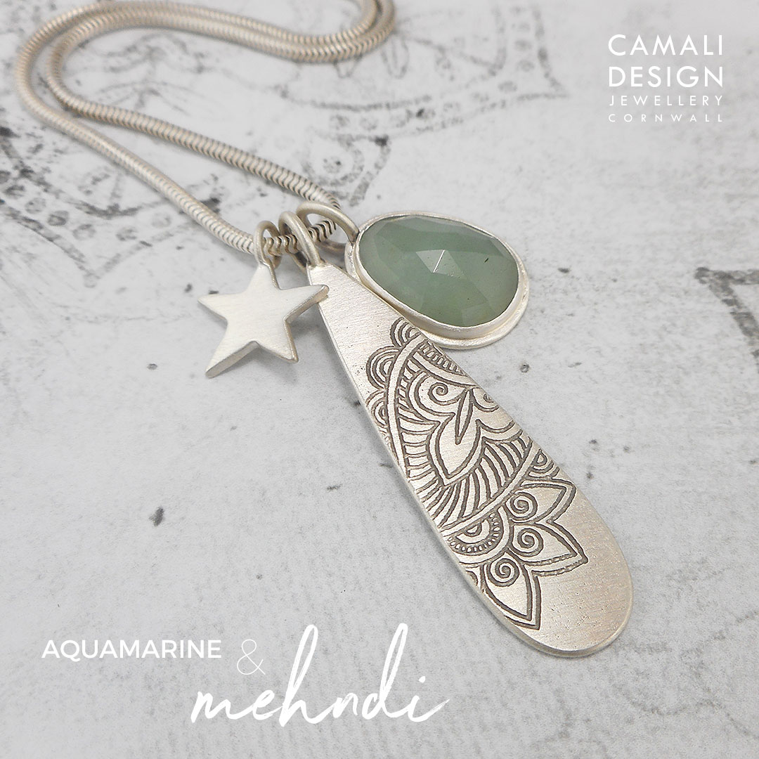 Aquamarine edge pendant with Mehndi and Star pendants