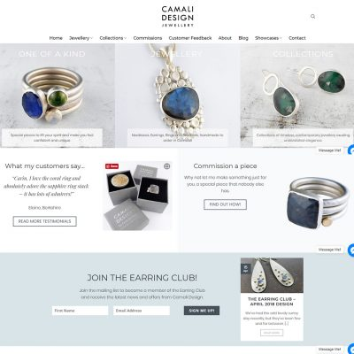 Camali Design web site screen shot