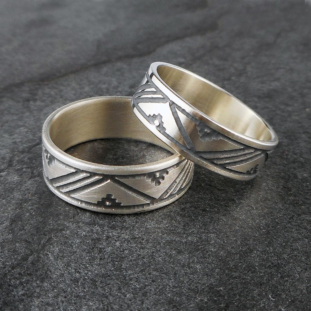 Scandinavian patterned thumb rings, handmade in sterling silver