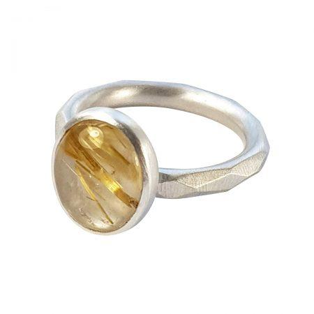 Golden rutile quartz on faceted band