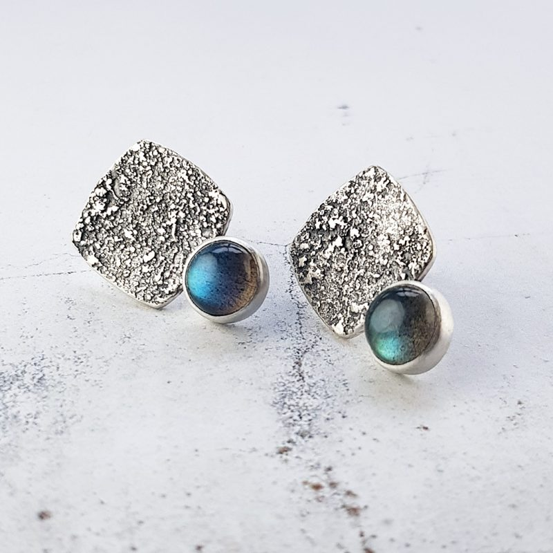 Rugged: Fused silver and Labradorite stud earrings