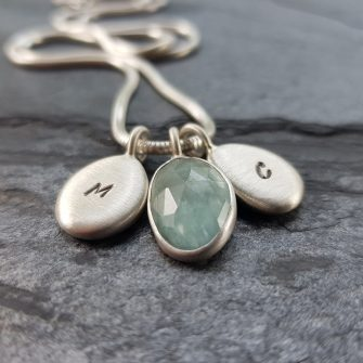 aquamarine and silver pebbles commission