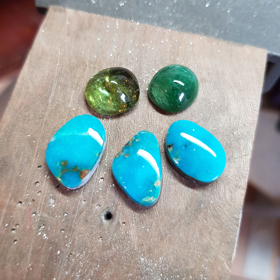 Turquoise and tourmaline, new stones on the bench